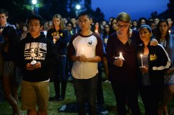 Students gather at UCLA for a memorial to honor Isla Vista victims
