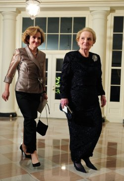 Madeleine Albright arrives for the State Dinner for President Hu Jintao of China in Washington