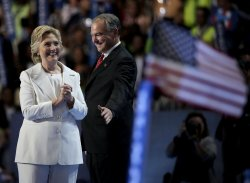 Bill Clinton and running mate Tim Kaine at DNC