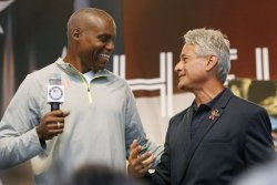 "Carl Lewis and Greg Louganis take part in the ""Road to London"" celebration in Time Square in New York"