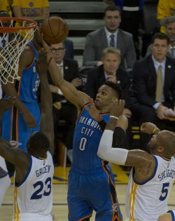Thunder's Russell Westbrook lays up two against the Golden State Warriors