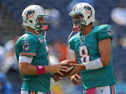 Dolphins Henne and Moore at Qualcomm Stadium in San Diego, California