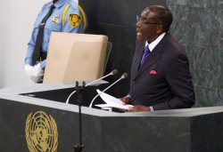 President of Zimbabwe Robert Mugabe addresses the 68th session of the General Assembly at the United Nations
