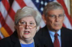Nancy LeaMond of AARP and Ron Pollack of Families USA speak on health care reform in Washington