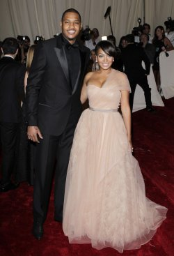 Carmelo Anthony and Lala Vasquez arrive at the Costume Institute Gala Benefit in New York