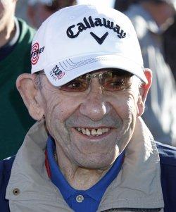 Yogi Berra arrives at the Bob Hope Classic Golf Pro-Am in La Quinta