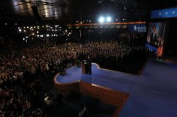 Republican presidential nominee Mitt Romney delivers his concession speech during his election night rally in Boston