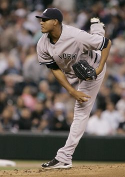 New York Yankees' starter Ivan Nova pitches against the Mariners in Seattle.