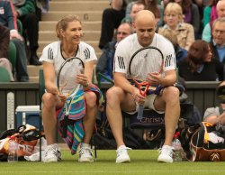 Andre Agassie and Steffie Graf play at Wimbledon