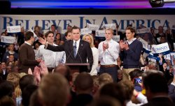 Republican presidential candidate Mitt Romney holds an election night rally in Manchester, New Hampshire