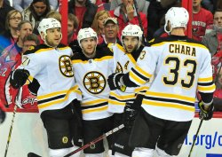Members of the Boston Bruins celebrate in Washington