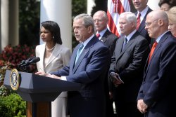 Bush delivers remarks alongside his Cabinet in Washington