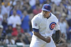 Cubs' Marmol reacts agaisnt Yankees in Chicago