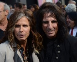 "Steve Tyler and Alice Cooper attend the ""Dark Shadows"" premiere in Los Angeles"