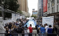 Diana Nyad Attempts 48-Hour Swim in Herald Square for Sandy Recovery
