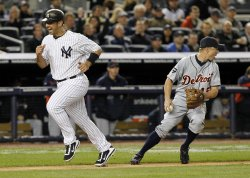 New York Yankees Jorge Posada reacts in Game 1 of the ALDS at Yankee Stadium in New York