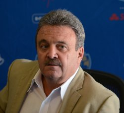 Ned Colletti participates in a news conference to announce Dodgers blockbuster trade in Los Angeles