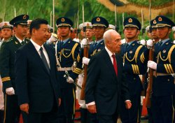 Israeli President Peres attends welcoming ceremony in Beijing