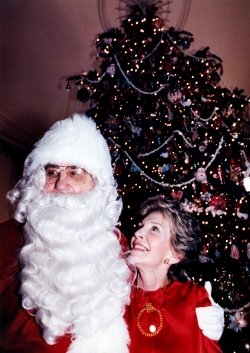 Ed McMahon as Santa Hugs Nancy Reagan