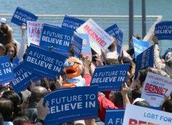 Bernies sanders addresses union-dominated crowd in San Pedro, California