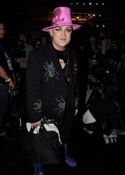 Boy George at Vivienne Westwood catwalk show at London Fashion Week