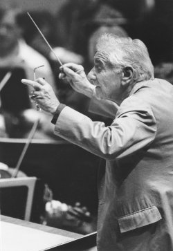Conductor Leonard Bernstein rehearses at the Kennedy Center