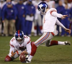Giants kicker Lawrence Tynes kicks a game winning 31-yard field during the NFC Championship game in San Francisco