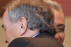 Emanuel hugs Daley in Chicago