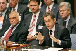 France President Sarcozy speaks at Security Council meeting at United Nations
