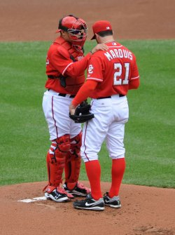 Nationals pitcher Jason Marquis talks to catcher Ivan Rodriquez in Washington