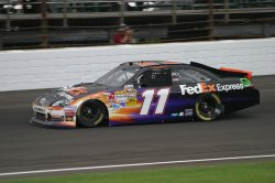 Denny Hamlin wins the Pole for the Brickyard 400 in Indianapolis, Indiana.