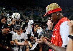 "Dennis Rodman promotes for street basketball ""Street2Elite"" in Japan"
