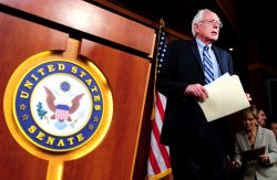 Sen. Bernie Sanders (I-VT) speaks at a press conference on social security in Washington