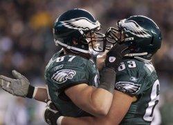 Philadelphia Eages Brent Celek celebrates his touchdown during first quarter play