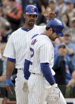 Cubs Lee Congratulates Nady After Three Run Home Run Against Brewers
