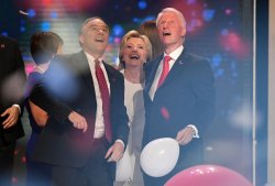 Sen. Tim Kaine, Hillary Clinton and President Bill Clinton at the DNC convention in Philadelphia