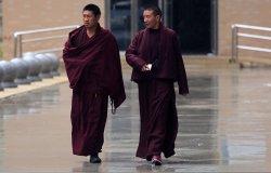 Tibetan monks visit a traditional Tibetan hospital in Ganzi Prefecture