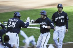 Brewers Braun, Fielder, Hairston Jr. home run during NLCS in Milwaukee, Wisconsin
