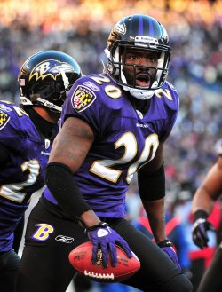 Ravens safety Ed Reed celebrates in Baltimore