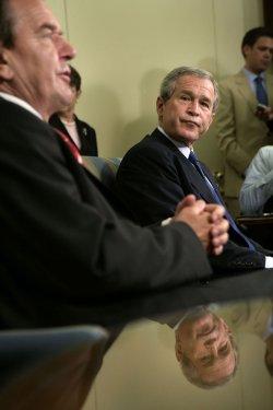 President Bush meets with German Chancellor Gerhard Schroeder