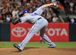 Texas Rangers' pitcher Darren O'Day during game 2 of the World Series in San Francisco