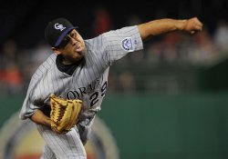 Rockies pitcher Jorge De La Rosa pitches against the Nationals in Washington
