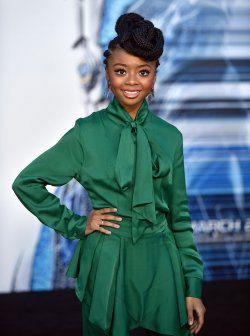 Skai Jackson attends the 'Power Rangers' premiere in Los Angeles