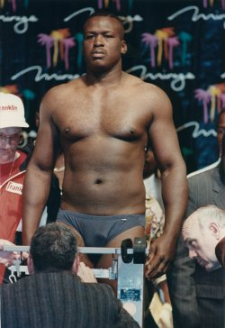James Buster Douglas gets ready to fight Evander Holyfield
