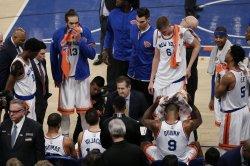 Knicks head coach Jeff Hornacek speaks to the team
