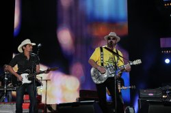 Hank Williams Jr performs with Brad Paisley at the 2012 CMA Music Festival in Nashville