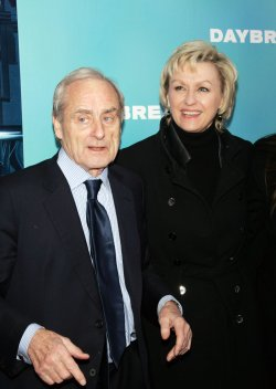 "Tina Brown and husband Harold Evans arrive for the premiere of ""Daybreakers"" in New York"