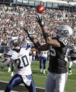 The Chargers defeat the Raiders 38-26 in Oakland, California
