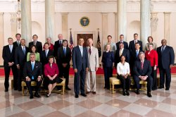 President Obama poses with his full Cabinet in Washington