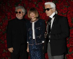 Pedro Almodovar, Anna Wintour and Karl Lagerfeld arrive for the Museum of Modern Art Film Benefit honoring Pedro Almodovar in New York